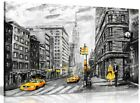 Black White Yellow New York City Oil Painting Canvas Wall Art Picture Print