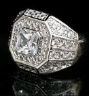 Mens Lab Diamonds Bling Hip Hop Micro Pave chunky iced out gold plated Ring UK