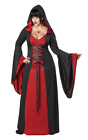 Womens Red Hooded Robe Plus Size Halloween Vampire Gothic Fancy Dress Costume