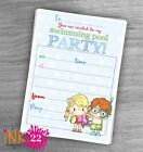 Cute Kids Boy Girl Invitations card pack  Swimming Pool  Birthday Party x10
