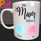 Personalised Mothers Day Gifts MUM DAD ELEPHANT MUG GRAN HER HIS NEW BORN DADDY