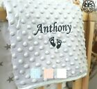 PERSONALISED BABY BLANKET EMBROIDERED SOFT BUBBLE ITALIC FONT BABY BOY GIRL GIFT