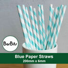 "Blue And White Striped Paper Straws 8"" (20cm) Biodegradable Compostable 6mm Dia"