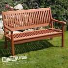 NEW 4FT 5FT HARDWOOD BENCH SEAT TWO THREE 2 3 SEATER WOODEN GARDEN FURNITURE