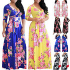 Womens Boho Holiday Long Dresses Ladies Summer Beach Floral Maxi Dress Size 6-24