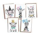 10 Birthday Card Pack, A6 Cute Animal Birthday Cards, Pack of 10, Animals, PA008