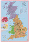 UK Map Political Educational Maps Poster Canvas Picture Wall Art Decore