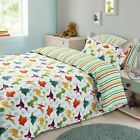 Dreamscene Dinosaur Duvet Cover Pillowcase Kids Bedding Set Stripe Single Double