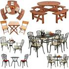 Garden Furniture Set Patio Wood Cast Aluminium Table and Chairs Bistro Outdoor