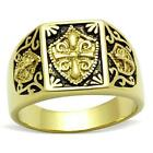 Mens gold pinky ring coat of arms steel 18kt signet no stone all sizes new 127G