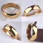 6mm Yellow Gold Filled Wedding Ring - Mens Womens Comfort Court Band J to Z+4