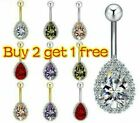 UK Silver Gold Belly Button Piercing Bar Crystal Cluster Belly Bars Navel Rings