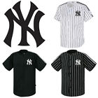 NY New York Yankees Button Jersey Striped Baseball Open T-Shirt Uniform Tee 0110