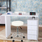 Large Manicure Nail Table Station Desk Spa Beauty Salon Equipment w/ Small Stool