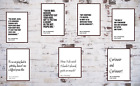 Alice In Wonderland Quote Prints.Lewis Carroll Black and White Text Posters Art