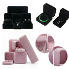 UK BLACK/PINK VELVET JEWELLERY BOX RING NECKLACE EARRINGS BRACELET GIFT BOX NEW