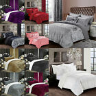 Crushed Velvet Quilt Duvet Cover Set Bedding Single Double King Super King Size