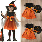 Girls Halloween Witches Hat Fancy Dress Costume Witch Outfit Kids Cosplay Party