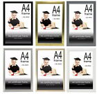 A4 Photo Frame, Certificate Poster Picture Frames - Black Silver Grey Gold White