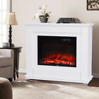 Electric Fire Fireplace Suite Compact Embedded Living Flicker Flame White MDF UK