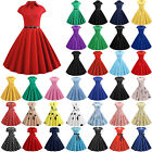 Womens Dresses Rockabilly Party 50s 60s Vintage Cocktail Skater Swing Midi Dress