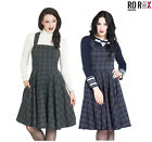 Hell Bunny Peebles Tartan Check 60 s 70 s Vintage Retro Pinafore Dress XS-4XL