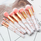 UK Marbling Kabuki Make up Brush Set Brushes Blusher Face Powder Pink Grey 10PCS
