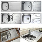 Single Double 1.0/1.5 Bowl Stainless Steel Kitchen Sink Reversible Drainer Waste