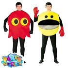 Adult 1980s Pacman Arcade Video Game Costume Mens Womens Fancy Dress Outfit