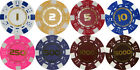 50 x NUMBERED DICE POKER CHIPS 1 Yellow 2 Red 5 Pink 250 Purple 500 1000 5000