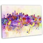 New York Skyline Abstract Watercolour Framed Canvas Wall Art Picture