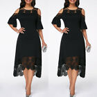 Womens Lace Midi Dress Ladies Evening Cocktail Formal Party Dresses Size 12-20