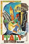 Vintage Art Deco 1930s Travel Poster Italy Southern Railways Abstract Typography