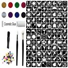 Glitter Tattoo Kit 25 - Princess & Super Hero 96 Large Stencils Glitter glue