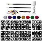 Glitter Tattoo Kit 1A - 96 Girl & Boys Large Stencils Temporary Tattoo Body Art