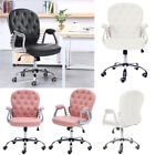 Upholstered Ergonomic Office Chair Heavy Duty Study Chair Moving Wheeled Seat UK