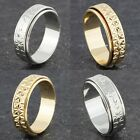 Gold or Silver Plated Womens Mens Elegant Spinner Wedding Band Ring Sizes L to P