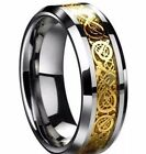 Mens Gold and Silver Dragon Ring