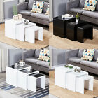 Nest of 3 Tables Coffee Table with Tempered Glass Top Side End Table Living Room