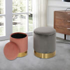 Foot Stool Storage Ottoman Round Pouffee Toys Organizer Bedroom Living Room Pink