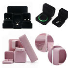 BLACK/PINK VELVET JEWELLERY BOX RING NECKLACE EARRINGS BRACELET GIFT BOX NEW