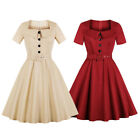 Women s 1940s 50s Rockabilly Vintage Retro Evening Prom Party Swing Belt Dress