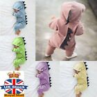 Unisex Newborn Infant Baby Boy Dinosaur Hooded Romper Jumpsuit Clothes Outfit #