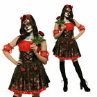 Red Rose Day Of The Dead Costume Ladies Halloween Fancy Dress Outfit