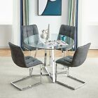 Small Round Glass Dining Table and 4 Chairs Microfiber Suede Fabric Sets Kitchen