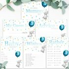 Baby Shower Games Blue Balloon & Rabbit Baby Boy Prediction Cards Advice To Mum