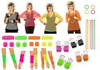 80s 1980s Theme NEON FANCY DRESS Mesh Top Fishnet Gloves Sweatband Legwarmer Lot