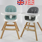 4in1 Wooden Baby High Chair 360° Rotatable Turntable Recline Feeding Seat Table