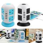 8 WAY SURGE PROTECTED TOWER SOCKET EXTENSION LEAD 3M CABLE WITH 4 USB 2A Black