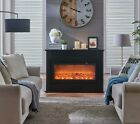 Electric Fireplace Suite 1.5kW White or Black MDF Mantle Fire Heater With Remote